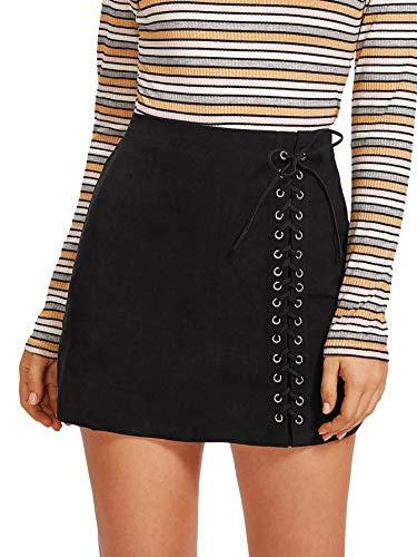 (Verdusa Women's Casual Grommet Lace Up A-Line Bodycon Mini Skirt Black)