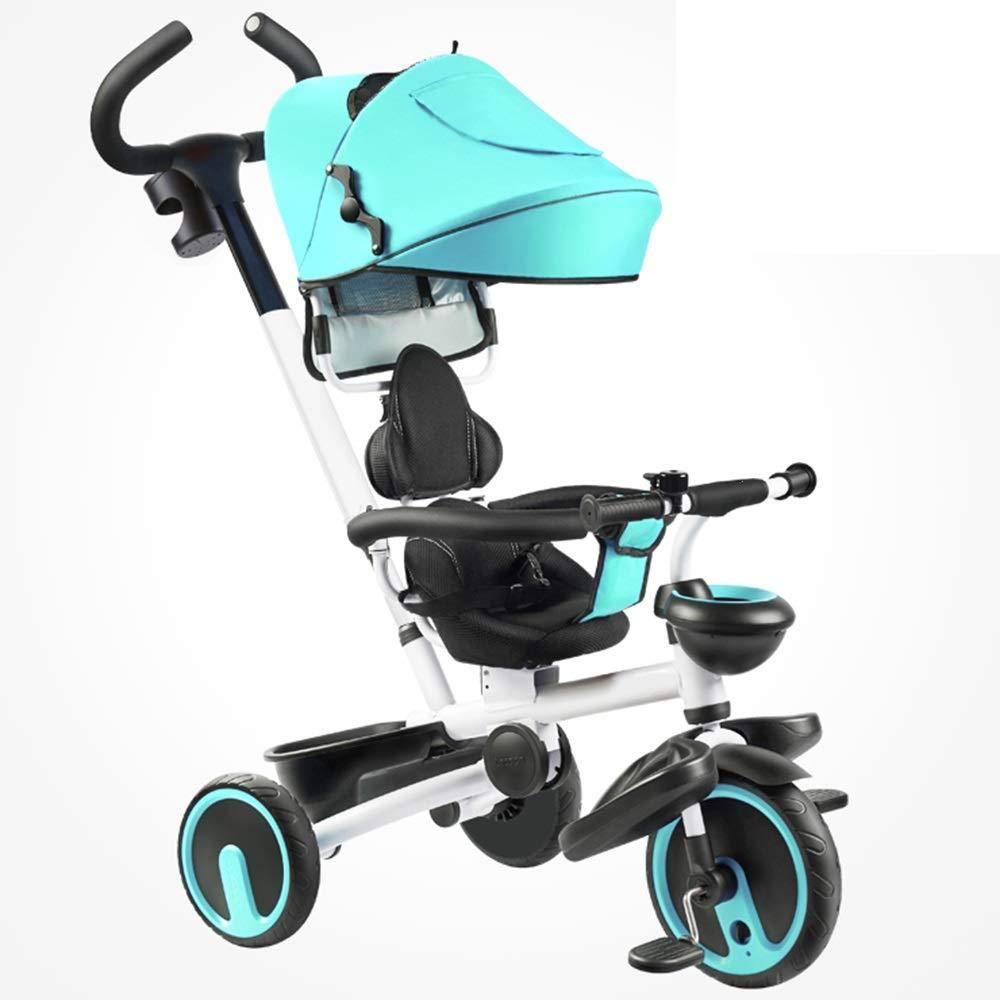 YUMEIGE 子ども用自転車 子供三輪車子供ペダル自転車パラソル付き1-6年古い積載量25キログラムベビーカー男の子女の子おもちゃの車 利用できるサイズ (色 : 青)  青 B07QJYL6V9