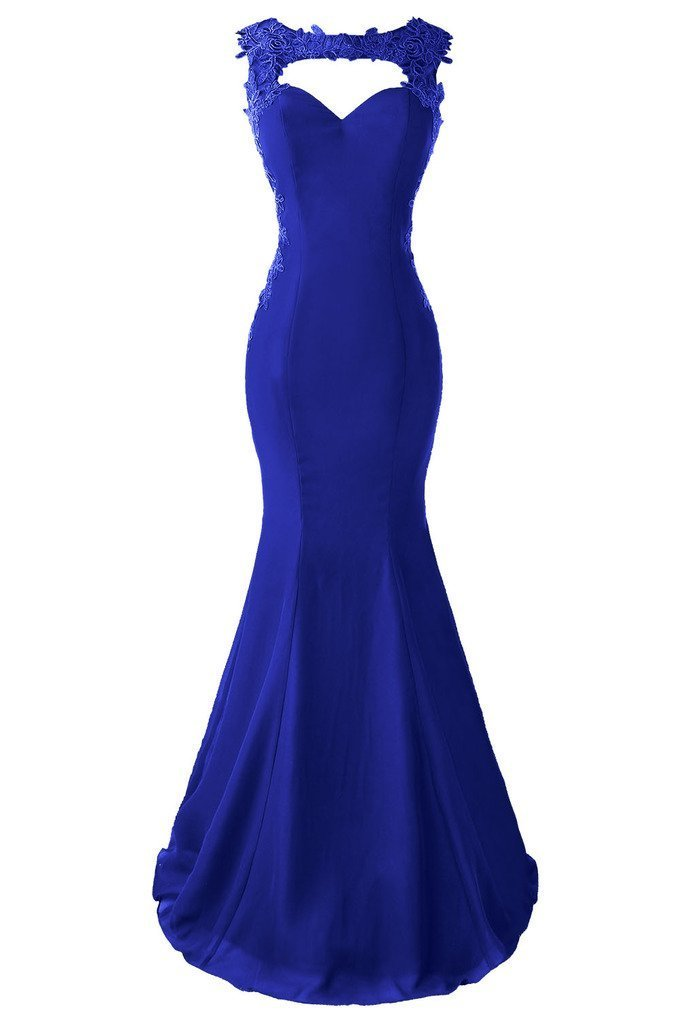 Topdress Women's Mermaid Prom Dress Lace Appliques Sheer Back Evening Gowns Royal Blue US 4