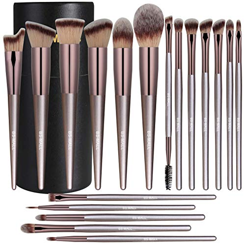BS-MALL Makeup Brush Set 18 Pcs Premium Synthetic Foundation Powder Concealers Eye shadows Blush Makeup Brushes Champagne Gold Cosmetic Brushes with Black Case (Bs Kit)