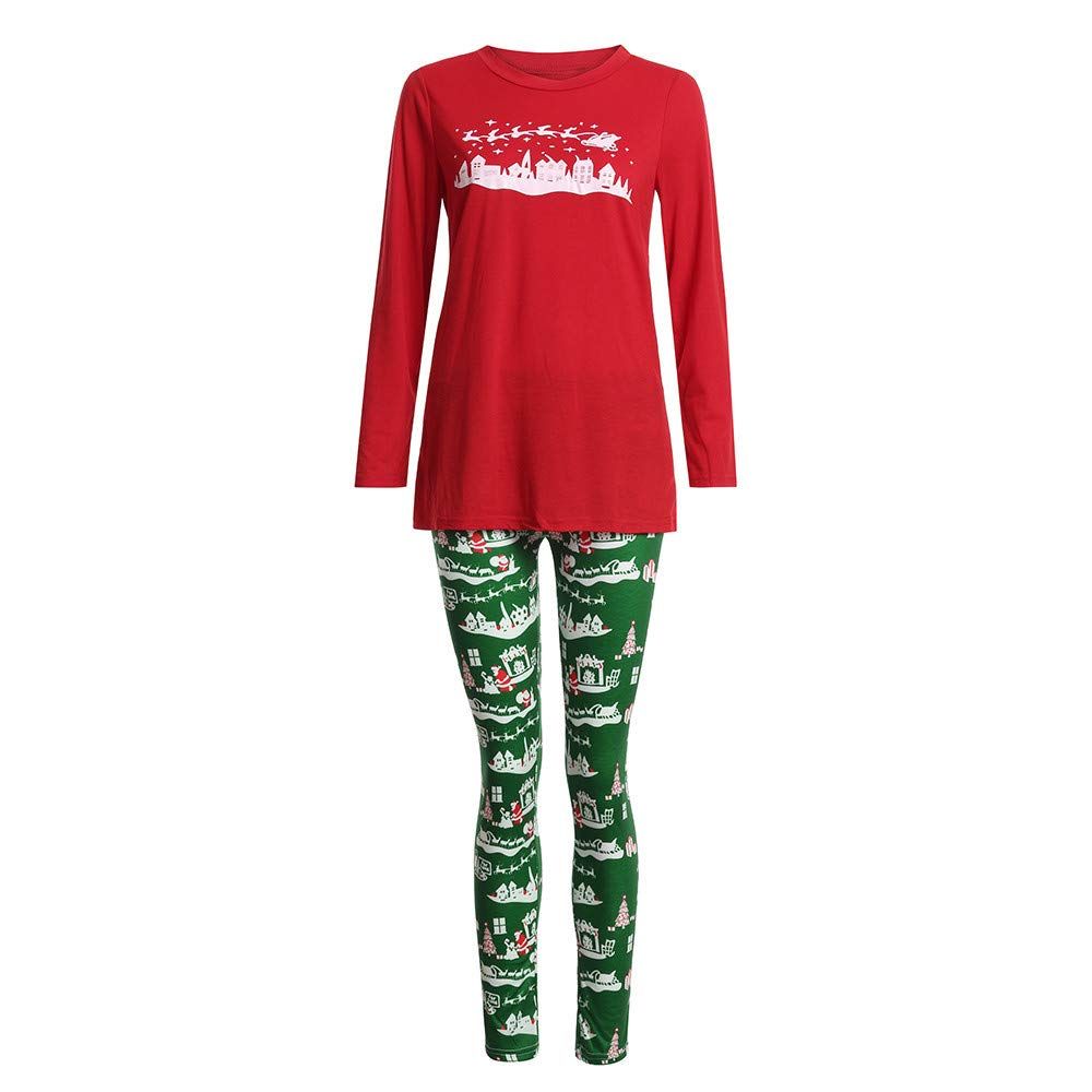 COTTONI-Camisa Tops for Women Tunic, 2PCS Christmas Top+Pants WMY-002
