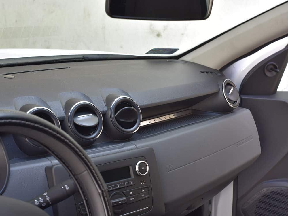 Interieur Stahlabdeckung f/ür Duster 2 II 2th 1 St/ück TECHROAD Emblemabdeckung Platte Edelstahl Geb/ürstet Blenden Cockpit Dekor Mass Angefertigt