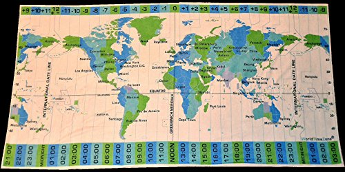 (World Time Zones super microfiber terry towel for travel (white with teal/green/dark-blue)