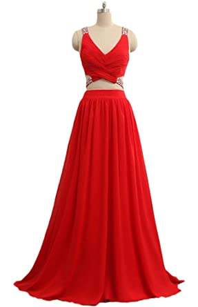 wildestdreamsbridal 2018 Womens Sexy A Line Two Piece Prom Dresses Long Red Chiffon Plus Size