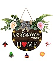 Changeable Welcome Sign Front Door Decor Wooden Signs Halloween Christmas Thanksgiving Holiday Welcome Home Decor(2*AA batteries not include)