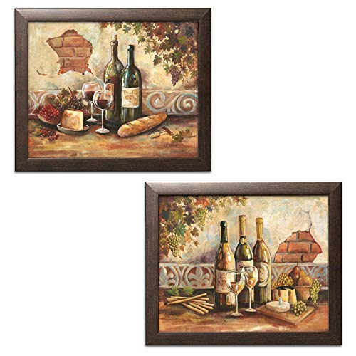 Framed Brown Print - Gango Home Decor Bountiful Wine | Rustic Italian Wine Cheese Grapes Vineyard; Two 14x11in Brown Framed Prints; Ready to Hang!