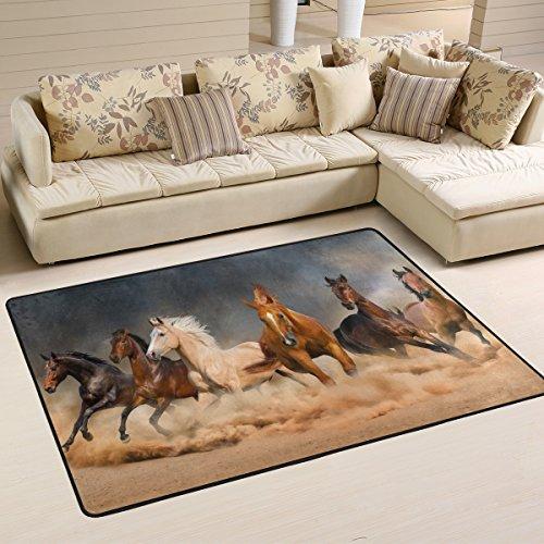 Naanle Animal Area Rug 4'x6', Running Horse in Desert Sand Storm Polyester Area Rug Mat for Living Dining Dorm Room Bedroom Home Decorative (Desert Sand Rug)