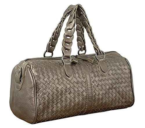 Kdhjjoly Practical Ladies Designer Womens Cowhide Genuine Leather Handbags Shoulder Bags Silver Gray Chic