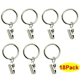 HOSL Stainless Steel Curtain Clip Rings 2 Inch Interior Diameter Pack of 18