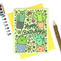 Cactus Cats Birthday Card, Cute, Funny, Desert, Southwestern, Saguaro, Prickly Pear, Greeting Card