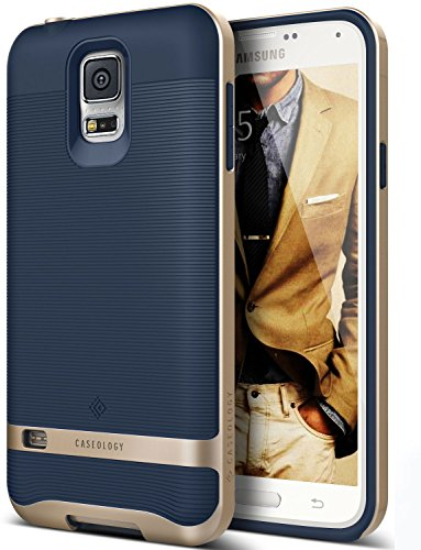 Cheap Cases Galaxy S5 Case, Caseology [Wavelength Series] Textured Pattern Grip Cover [Navy Blue]..