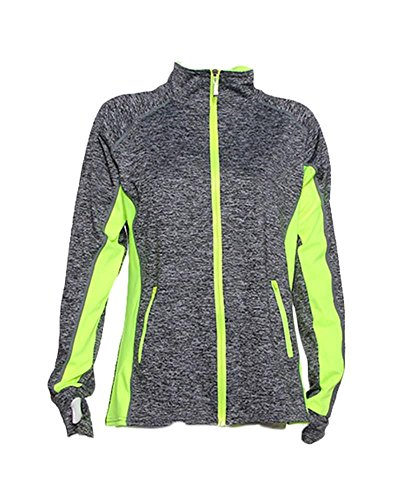 [Women's Active Lightweight Moisture Wicking Workout Jackets Yellow L/XL] (Athletic Works Jacket)