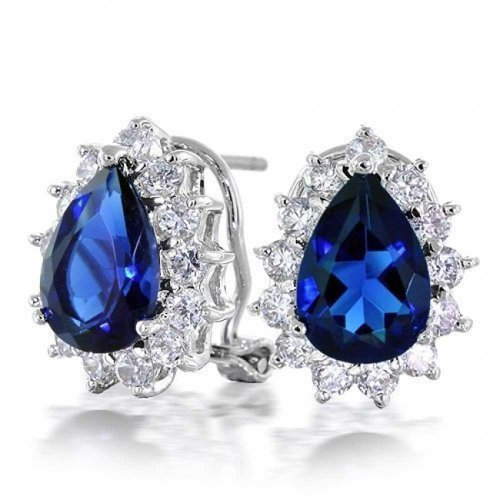 2.5CT Royal Blue Simulated Sapphire Teardrop Pear Shaped CZ Halo Stud Earrings For Women Omega Back Silver Plate Brass