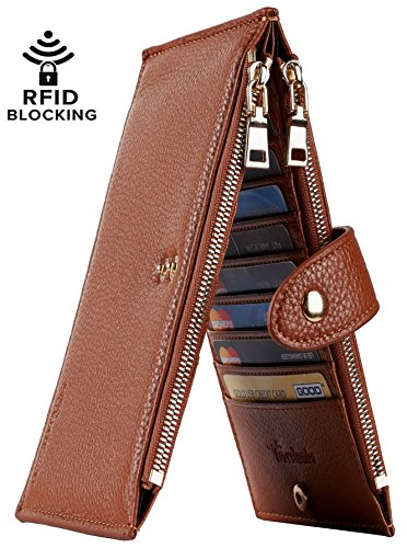 Travelambo Womens Walllet RFID Blocking Bifold Multi Card Case Wallet with Zipper Pocket (Chelsea brown)