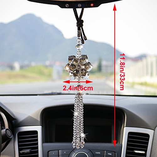 H&D Crystal Maple Leaf Car Pendant Lucky Hanging Rearview Mirror Ornament Car Interior Decor Accessories by H&D (Image #1)