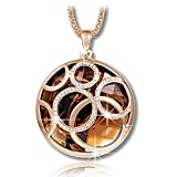ShankMing Golden Pendant Necklace Brown Austrian Crystal Life Rolling Ball with Rose Gold 31 in