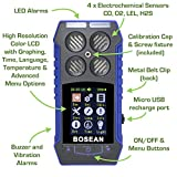 MULTIGAS Detector O2, CO, H2S, LEL by FORENSICS & BOSEAN | Color Display with Graphing | Strong ABS with Anti-Slip Grip Rubber | Water, Dust & Explosion Proof | Rechargeabl