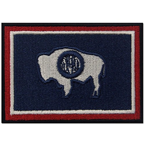 (Wyoming State Flag Embroidered Emblem Iron On Sew On WY Patch)