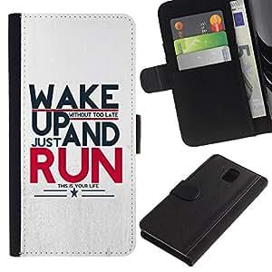 WINCASE Cuadro Funda Voltear Cuero Ranura Tarjetas TPU Carcasas Protectora Cover Case Para Samsung Galaxy Note 3 III - correr running motivacionales