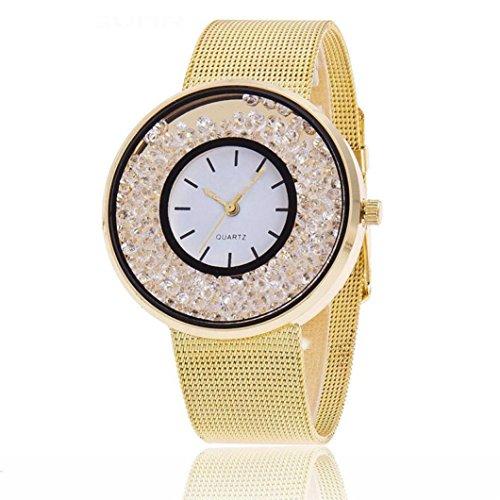 Couple Wrist Watches! Napoo Quartz Analog Wrist Delicate Alloy Watch Quicksand Artificial Diamond Luxury Business Watches (Glod)