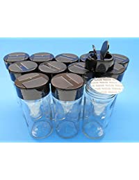 Investment (Set of 12) 4 OZ Glass Spice Jars with Sift/Pour Caps with Freshness Liner (Black) opportunity