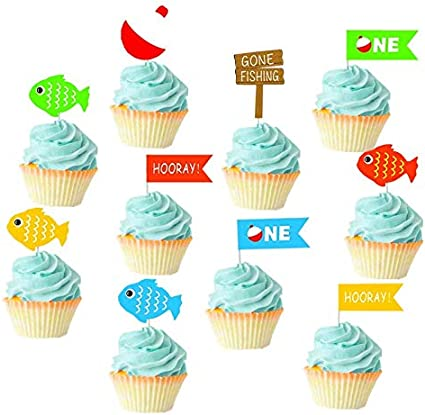 Fishing tackle box birthday party 12 cup cake toppers comestible décorations