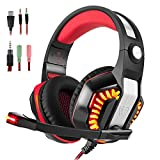 Gaming Headset for PS4 Xbox One, Beexcellent Stereo Over Ear Gaming Headphones Noise Cancelling Wired PC Headset with Mic/Bass Surround/Volume Control/LED Light for Playstation 4/Laptop/Mac/Computer Review
