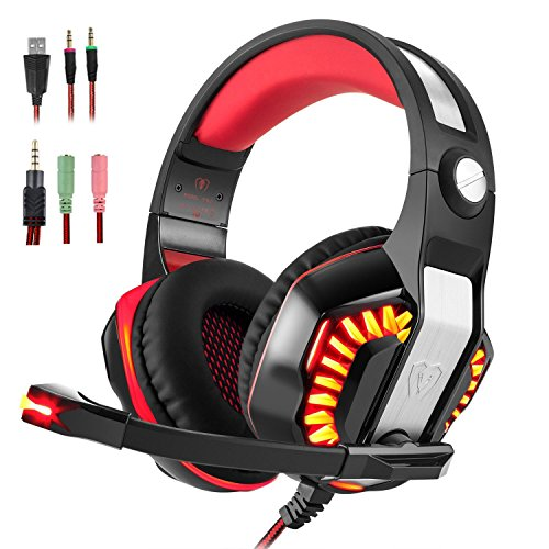 Tv Pc Elite (Gaming Headset for PS4 Xbox One, Beexcellent Stereo Over Ear Gaming Headphones Noise Cancelling Wired PC Headset with Mic/Bass Surround/Volume Control/LED Light for Playstation 4/Laptop/Mac/Computer)