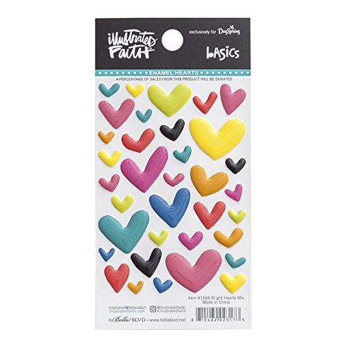Illustrated Faith - Enamel Heart Stickers - Mixed (Enamel Multi Heart)