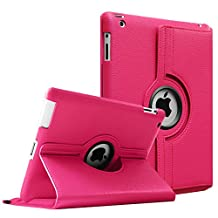 Fintie Apple iPad 2/3/4 Case - 360 Degree Rotating Stand Smart Case Cover for iPad with Retina Display (iPad 4th Generation), the new iPad 3 & iPad 2 (Automatic Wake/Sleep Feature), Magenta