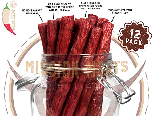TASTY & SPICY Non-GMO Grass-Fed Beef Sticks Gluten Free MSG Free Nitrate Nitrite Free Paleo Snacks Keto Healthy Natural Meat Sticks 12 piece