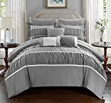 Purple and Silver Bedding Sets Chic Home Cheryl 10 Piece Comforter Complete Bag Pleated Ruched Ruffled Bedding with Sheet Set, Queen, Grey