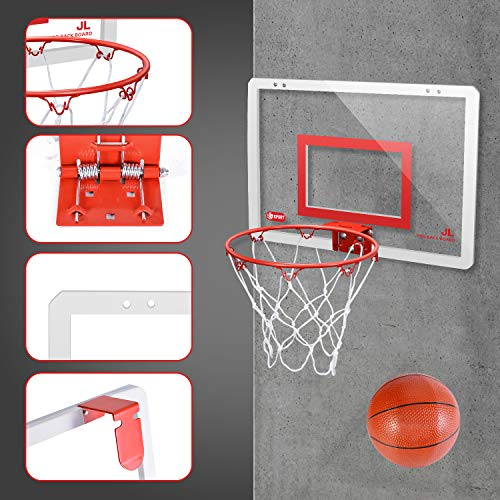 Mini Basketball Hoop Set for Door & Wall – 18″ x 12″ Board, 2 Balls & Pump with Complete Accessories, Basketball Toys Gifts for Kids Boys Teens, Indoor & Outdoor Slam Dunk Basketball Game for Children