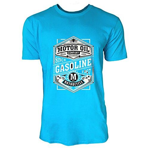 SINUS ART® Motor Oil Company Logo Herren T-Shirts in Karibik blau Cooles Fun Shirt mit tollen Aufdruck