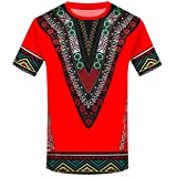 iZHH Men's T Shirt Fashion African Printed T Shirt Short Sleeve Casual Shirt Top Blouse Red