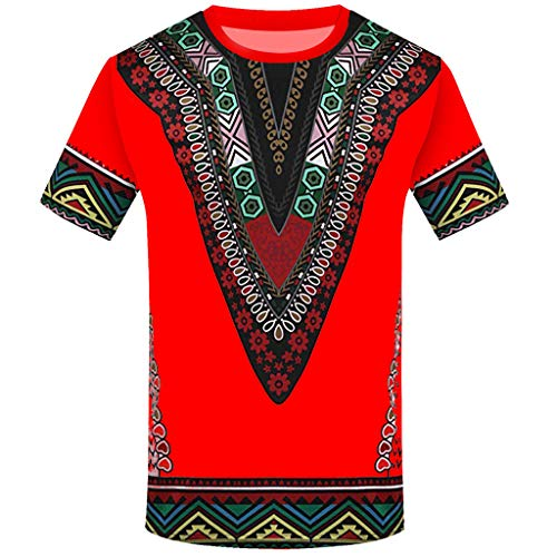 iYYVV Mens Fashion African Printed T Shirt Short Sleeve Casual Shirt Tops Blouse
