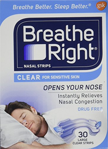 Breathe Right Nasal Strips Clear, Large, 30 Count