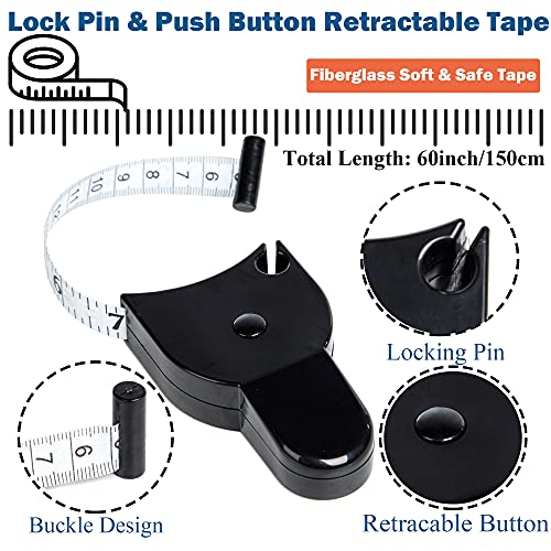 J.CARP 4 Pack Tape Measure Set, Measuring Tape for Body, Fabric Sewing Tailor Cloth Craft Measurements, Including Soft Tape and Retractable Double Scales Measuring Tape, Black