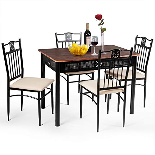 Tangkula 5 Pieces Dining Table and Chairs Set, Vintage Retro Wood Top Metal Frame Padded Seat Dining Table Set Home Kitchen Dining Room Furniture (Brown) (Table Sets Kitchenette)