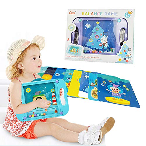 Joyfun Toys for 3-5 Year Old Boys Balance Board Game Labyrinth Game Maze Puzzle Brain Teaser for Kids Mind Brain Games Kids Gifts with 10 Scenes Space Robot Dinosaur Under The Sea Blue