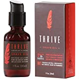 Thrive Natural Shave Oil for Men – Replaces Shaving Creams, Gels, Foams and Pre-Shave Oils – Shaving Oil Made in USA with Organic and Unique Premium Natural Ingredients for Healthier Skin – 1 oz/30ml