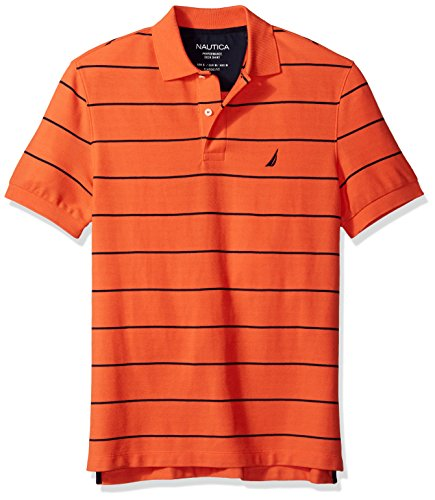Tiger Striped Polo Shirt - Nautica Men's Short Sleeve Stripe Deck Polo Shirt, Tiger Lily, Medium