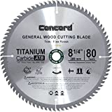 Concord Blades WCB8250T80-P  TCT General Purpose 8-1/4-Inch 80 Teeth Hard and Soft Wood Saw Blade with DM5/8-Inch Arbor