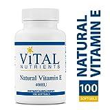 Vital Nutrients - Natural Vitamin E 400 IU - Potent Antioxidant & Cardiovascular Support - 100 Softgels