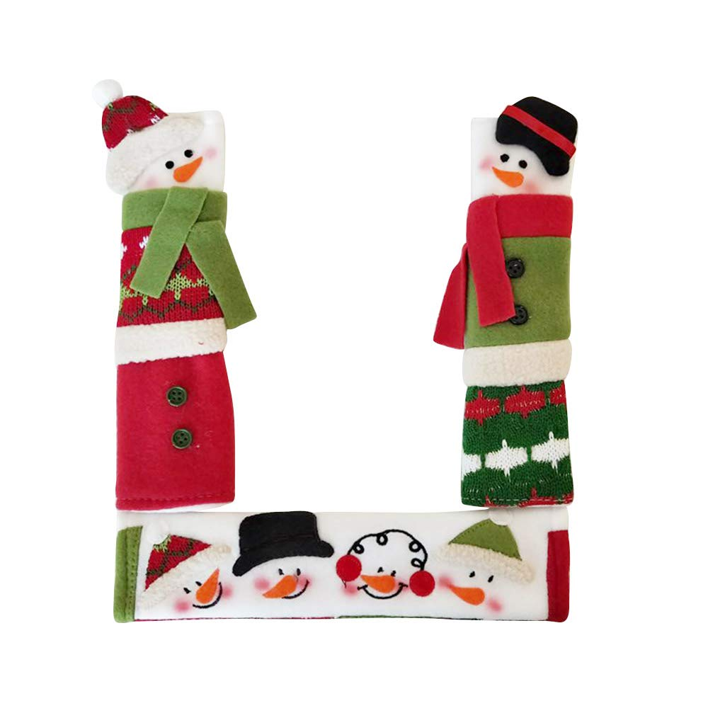 3 PCS Christmas Door Handle Cover Decor, Refrigerator Microwave Dishwasher Door Cloth Protector, Anti-Static, Snowman Fingerprints Dust Covers Toyfun