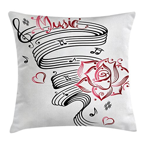 Ambesonne Tattoo Throw Pillow Cushion Cover, Language of Love Valentine's Musical Inspiration on Sheet with Rose Hearts, Decorative Square Accent Pillow Case, 40 X 40 Inches, White Black and Pink (Inspiration Rose Tattoo)