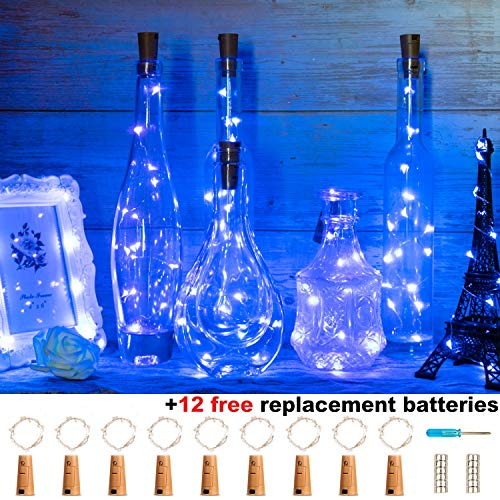 ITART Wine Bottle Lights,9 Packs Blue 15 LED String Cork Lights Battery Powered+12 Extra Batteries 2.5ft Fairy Light Silver Wire for Wedding Parties Christmas DIY Decor ()