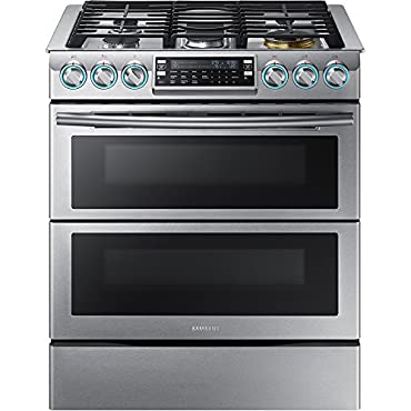 Samsung NX58K9850SS 30 Slide-in Gas Range with 5.8 cu. ft. Primary Oven Capacity and Wi-Fi Connectivity