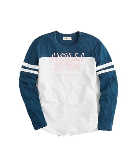 Hollister - Camiseta de Manga Larga - Manga Larga - para Mujer Blanco Azul Marino Small: Amazon.es: Ropa y accesorios