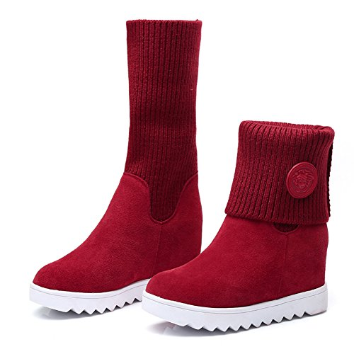 Women's Leather Boots Martin BOFO Cow Red ATqwqPY